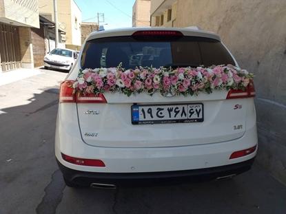 گل ماشین عروس همراه دسته گل عروس
